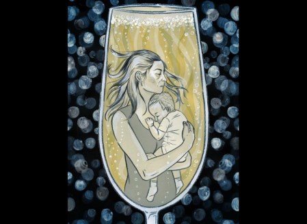 mother holds baby in champagne glass
