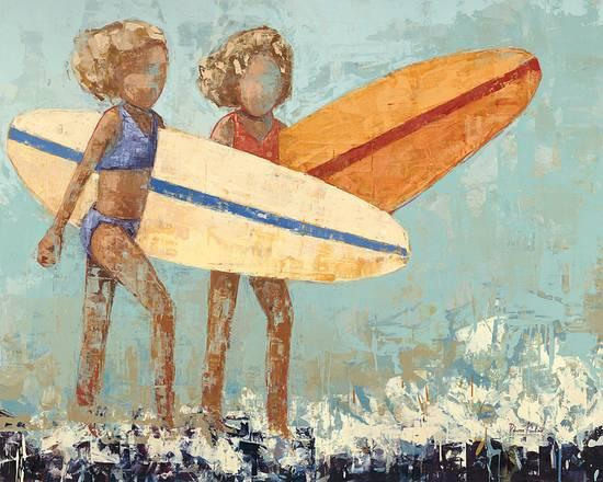 two little girls holding surfboards