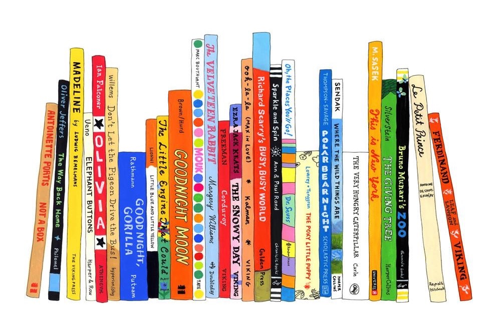 A cartoon drawing of a bookshelf of classic children's books