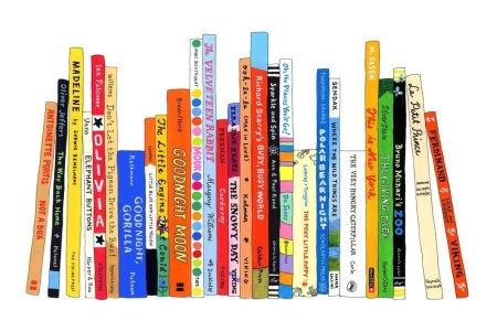 A cartoon drawing of a bookshelf of classic children's books