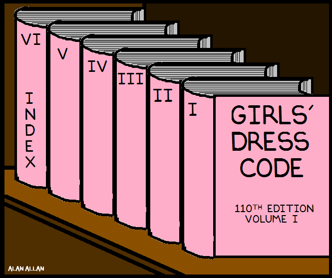 Six pink cartoon books in a row entitled Girls' Dress Code