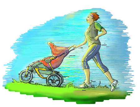 Cartoon coloured picture of a woman pushing a red jogging stroller