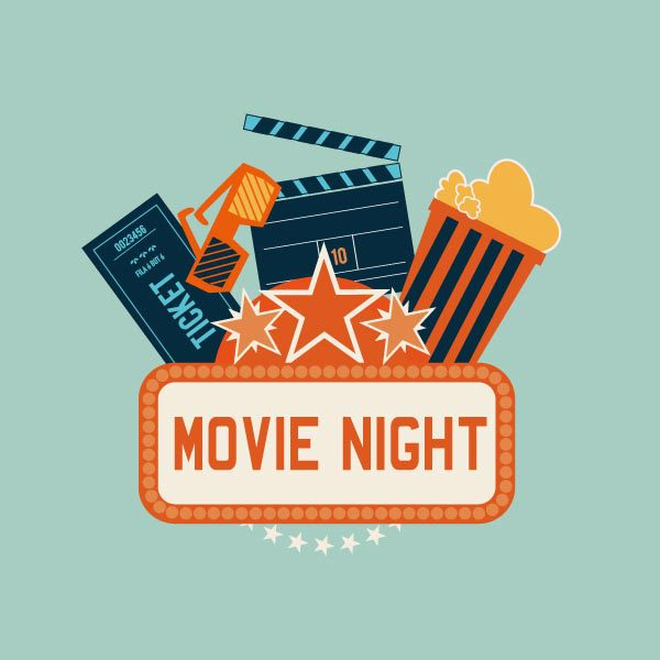 movie night sign with popcorn and other symbols coming out of it