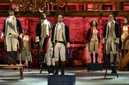 Hamilton cast on stage