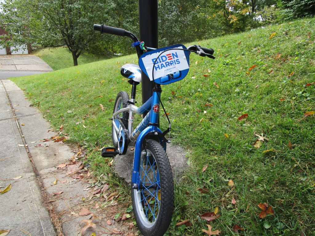 kid's bike with Harris/Biden sticker on it