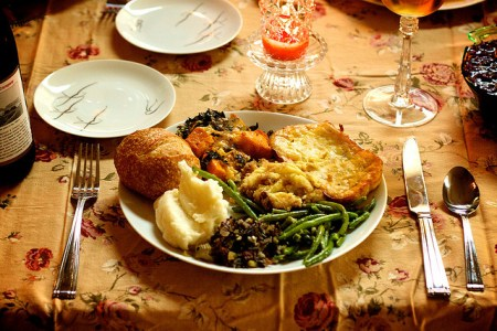 plate full of holiday food