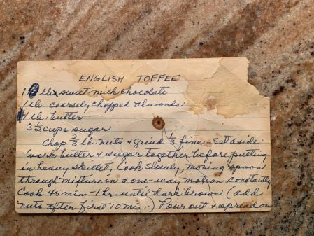 old recipe card for English toffee