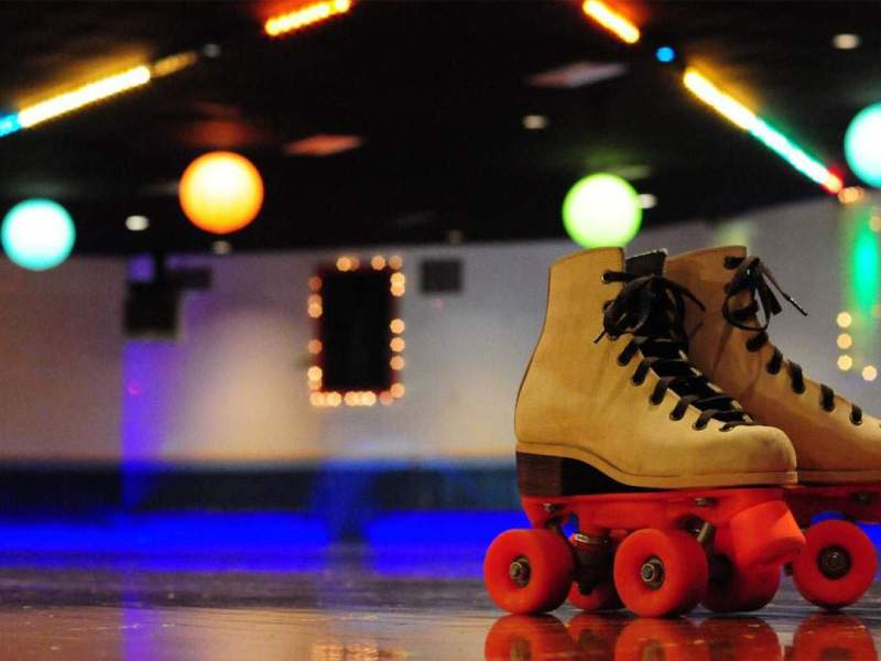 roller skates on the floor of a rink