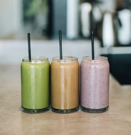 three colourful smoothies in classes