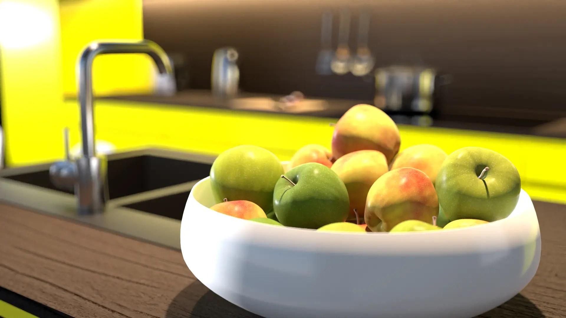 Apfel Rendering in Cinema 4D für Produktvisualisierung
