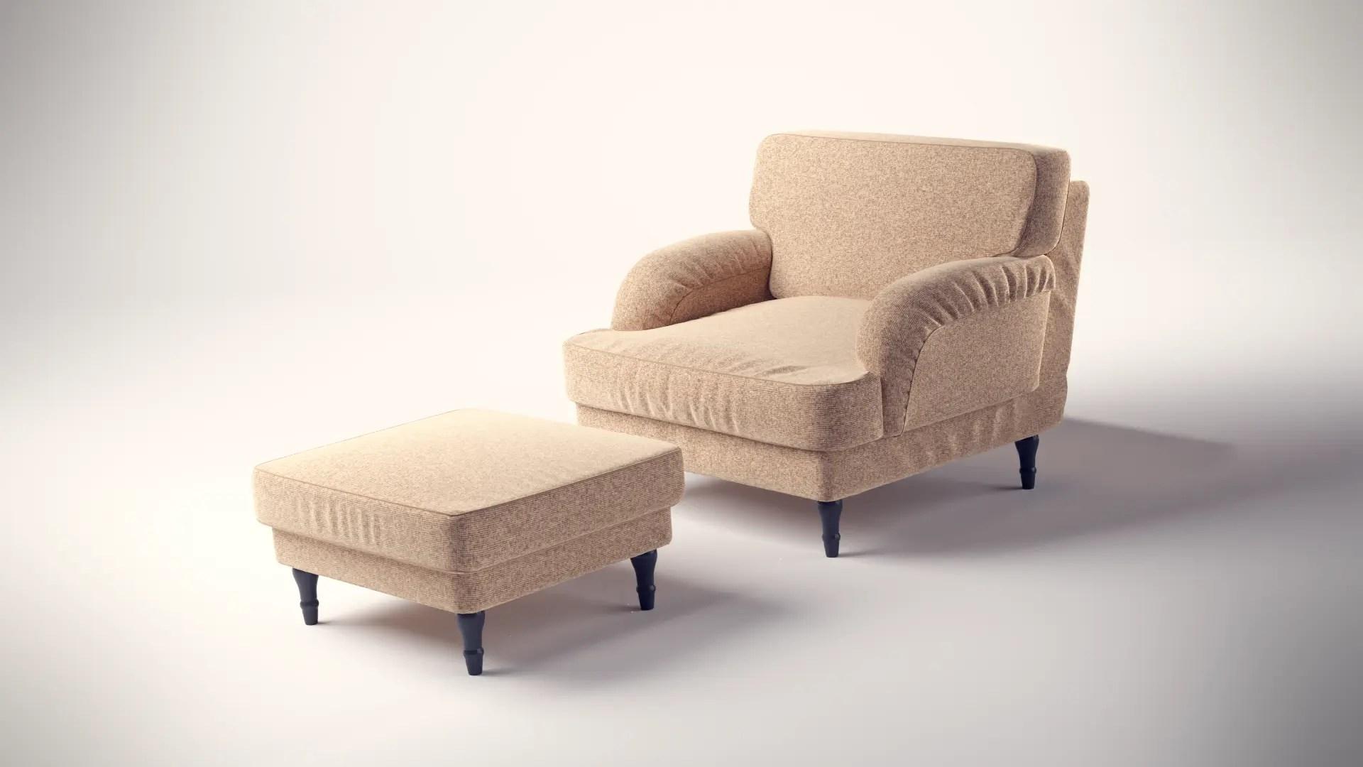 3D Produktvisualisierung mit einem Sessel mit einer zusätzlichen Fußlehne, wie man es bei Ikea finden würde, gerendert mit blender Cycles
