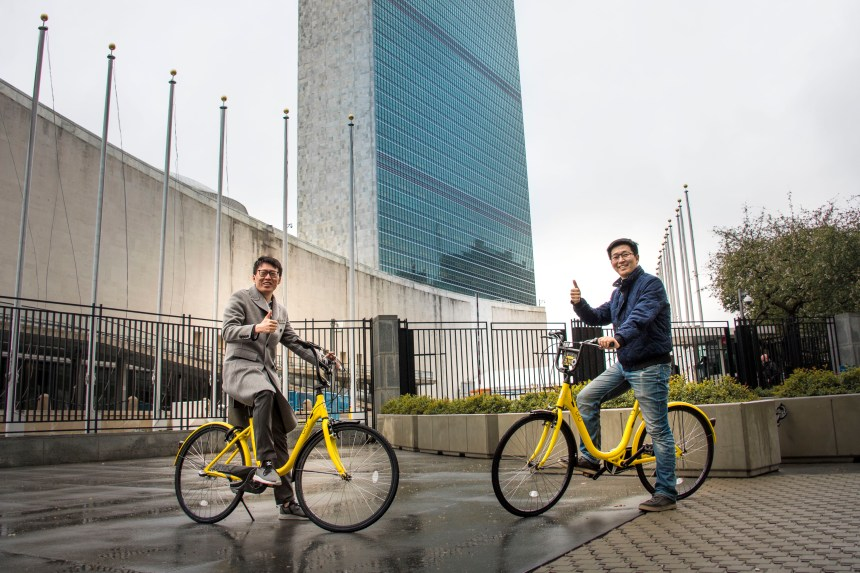 OFO CEO Dai Wei and UNDP Freya Morales US-Launch Event Address Rural and Urban Environmental Challenges sustainable mobility