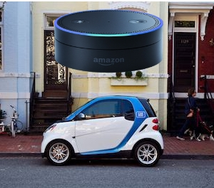 Alexa tell car2go that I want to reserve a car sharing urban mobility