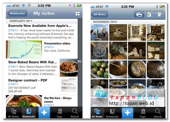 Screenshot Evernote for iPhone