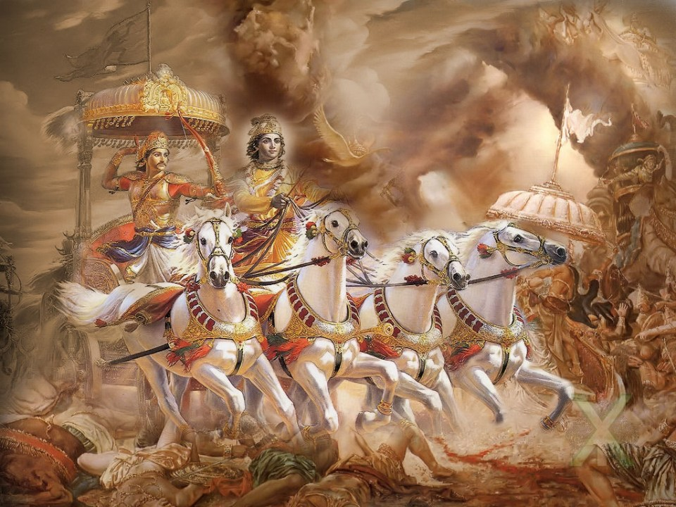 Krishna (the Lord) gives Arjuna (the King) precious advice to help him deal with the stress of going to war against his own family. Image source: unknown.