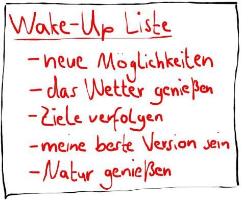 Früh aufstehen durch eine Wake-Up Liste (Beispiel)