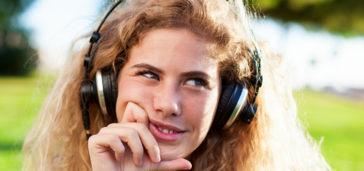 Girl Listening to Songs