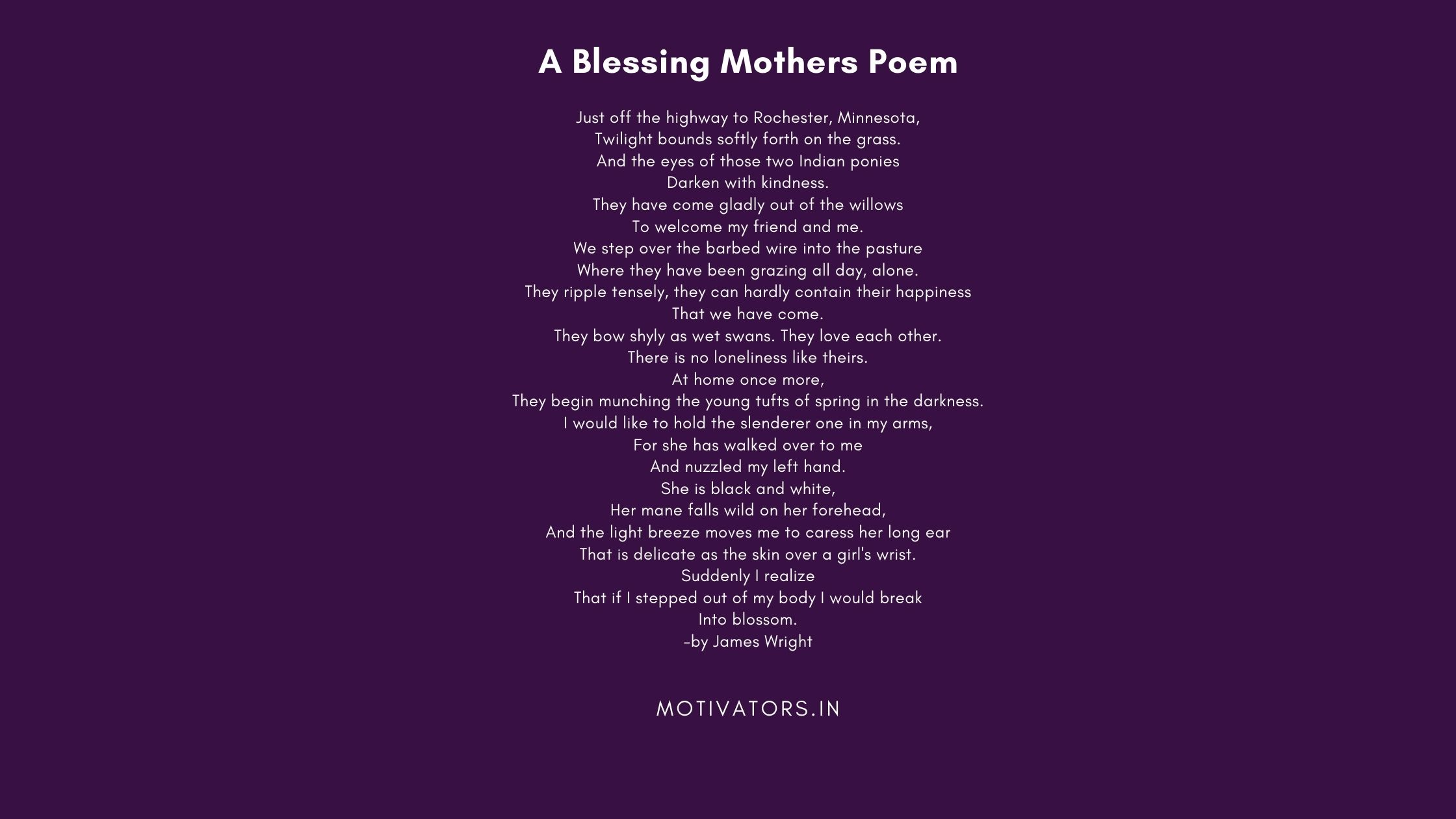A Blessing Mothers Poem