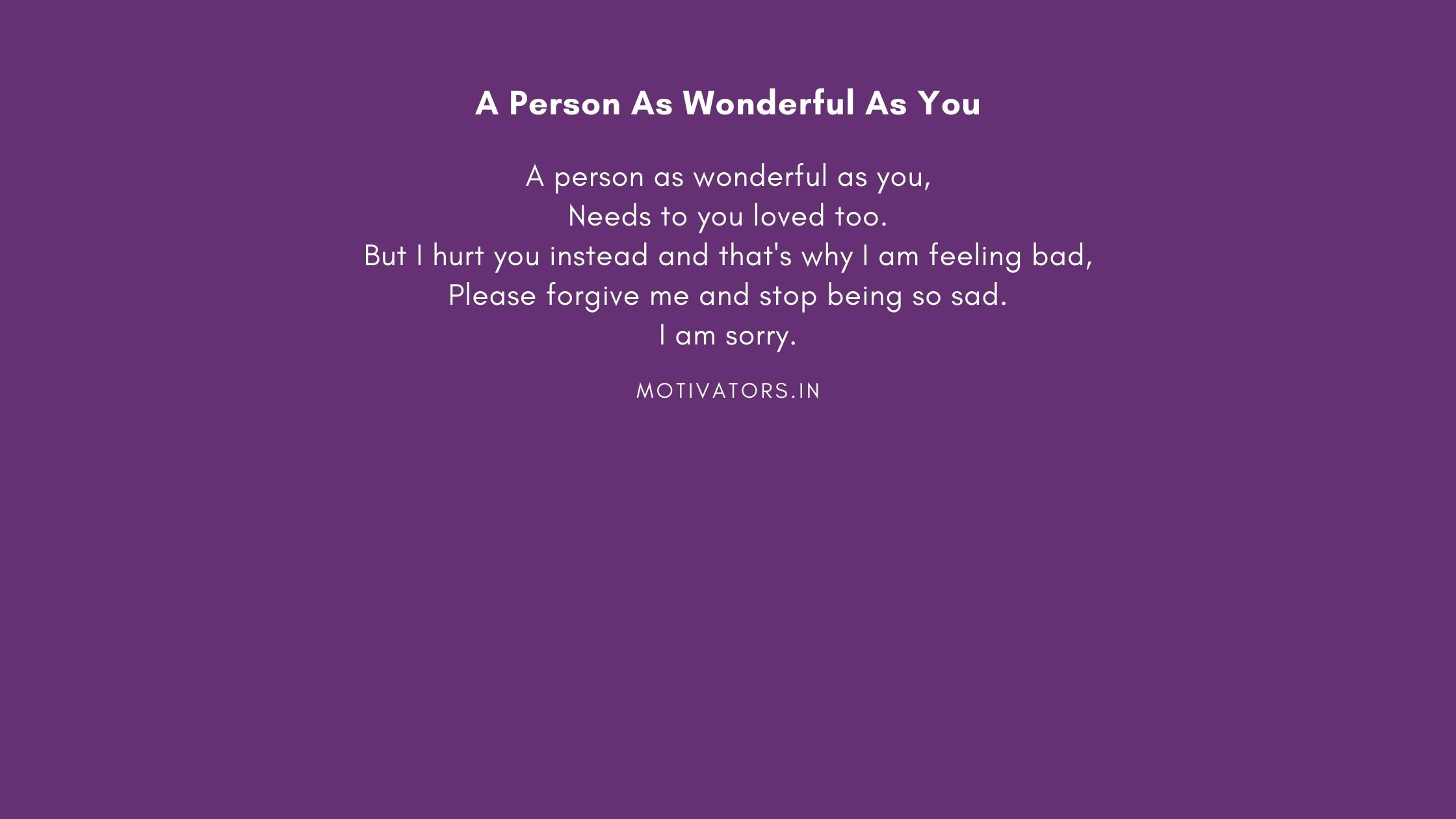 A Person As Wonderful As You