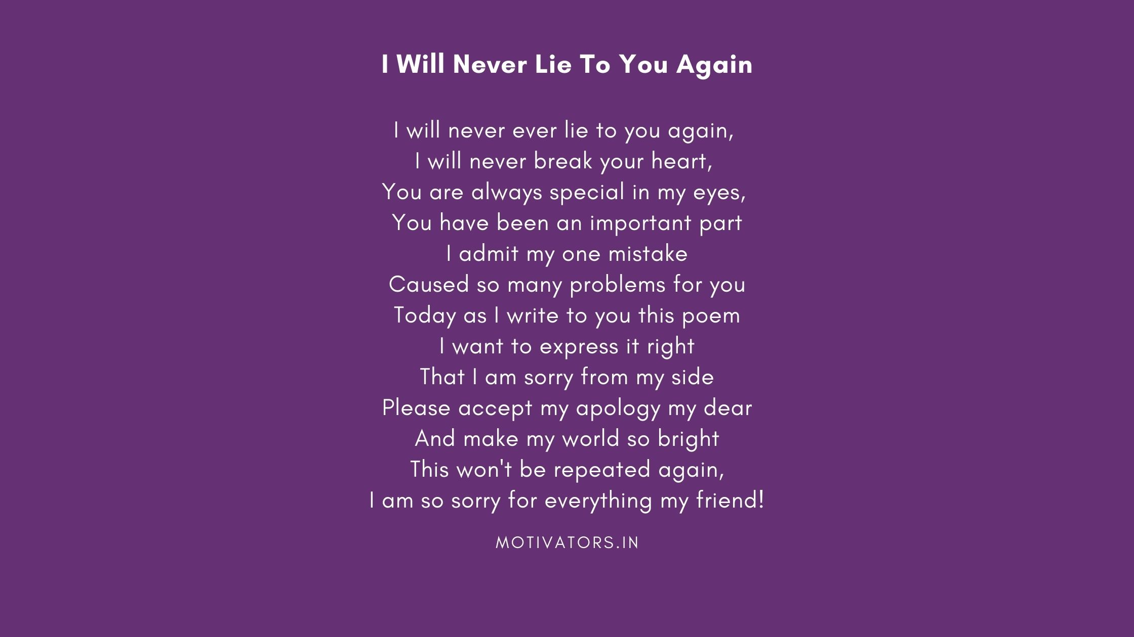 I Will Never Lie To You Again
