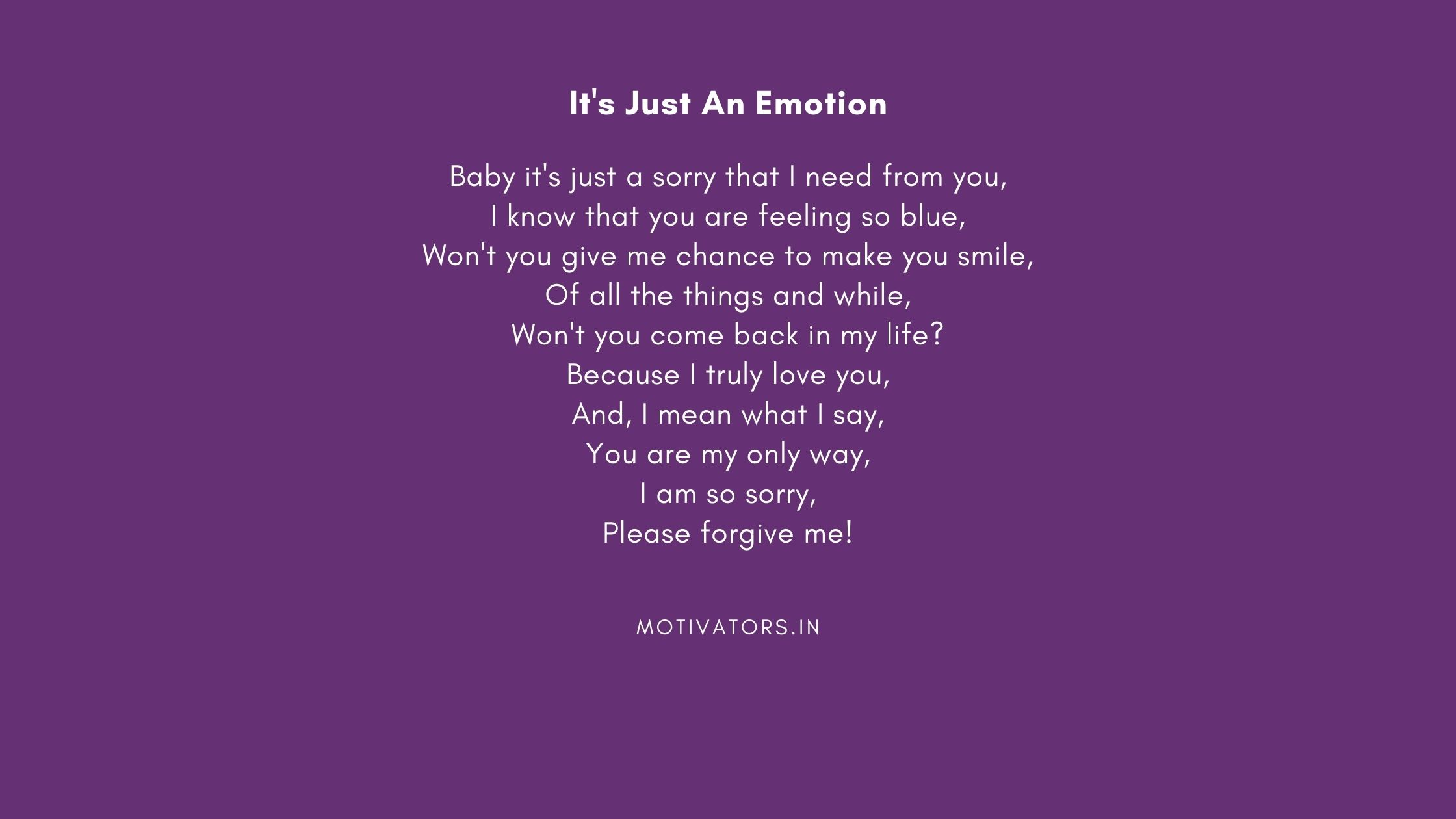 It's Just An Emotion