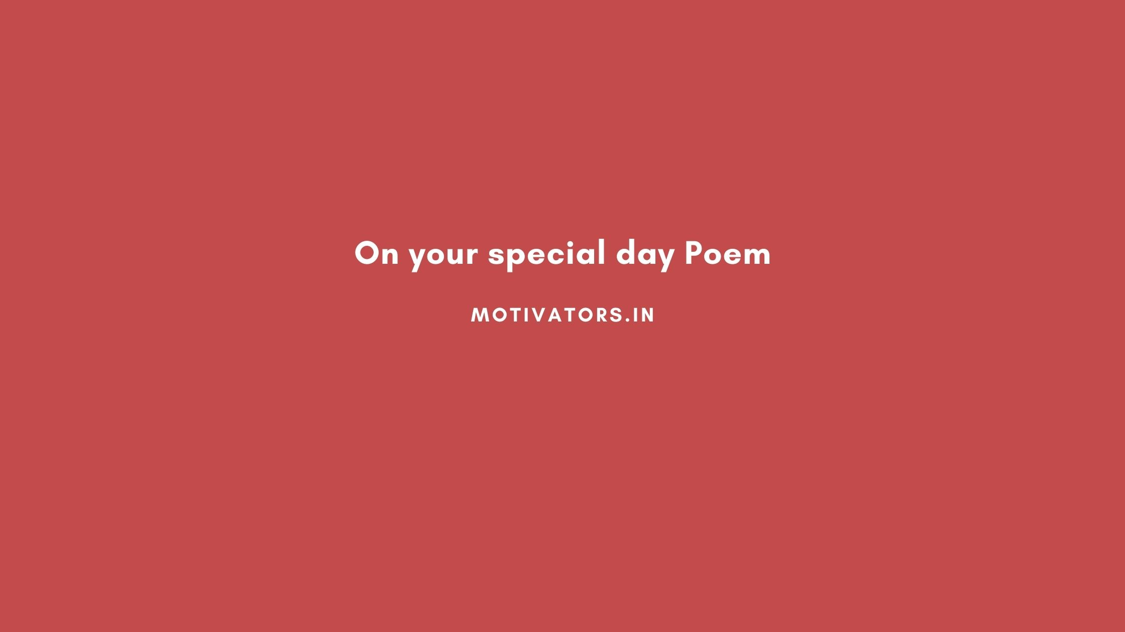 On your special day Poem
