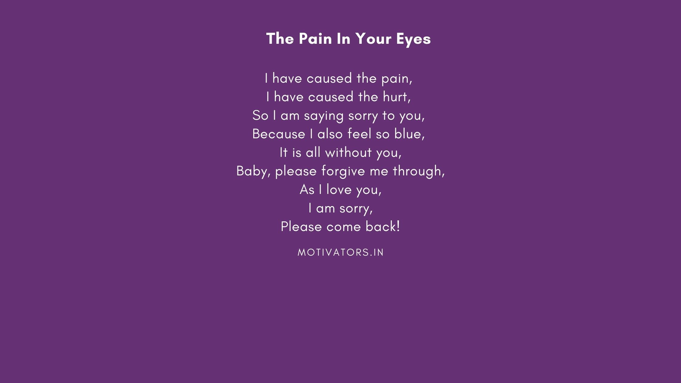 The Pain In Your Eyes
