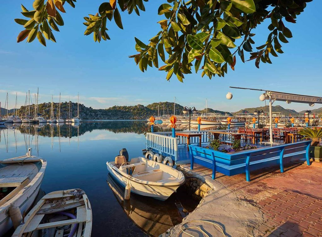 Boats and yachts, near Kekova island, Turkey.