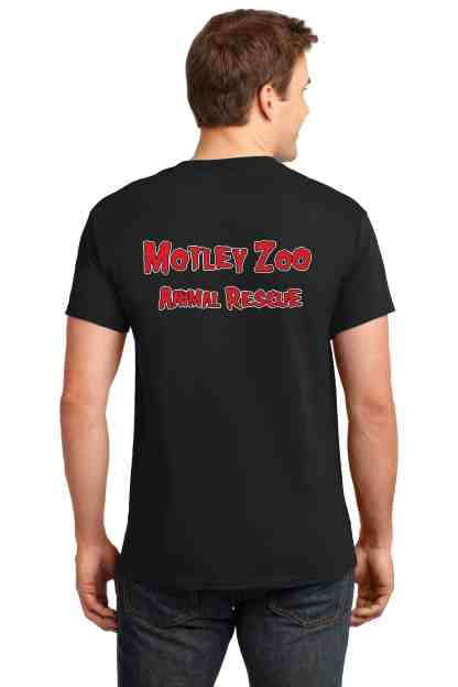 Mispits men tee back motley zoo animal rescue bydfault