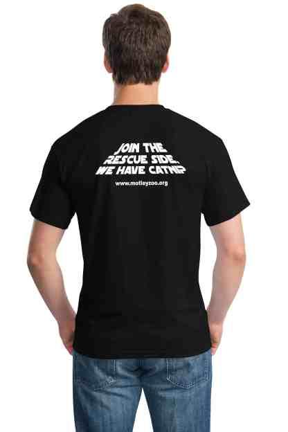 black shirt CAT back motley zoo animal rescue bydfault