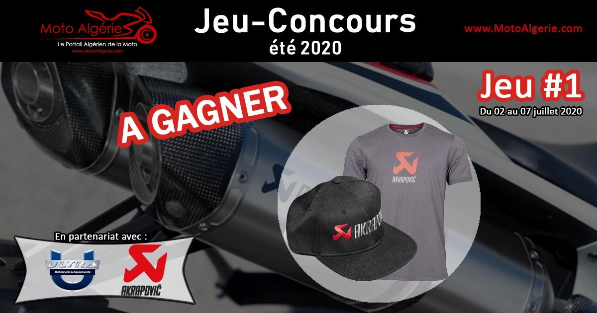 Jeu-Concours été 2020 – JEU#1 : Un T-Shirt et une Casquette AKRAPOVIC pour le gagnant !
