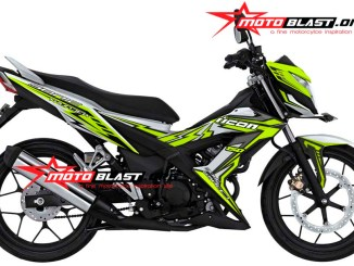 modifikasi honda sonic 150 R putih icon thunder green lemon motoblast