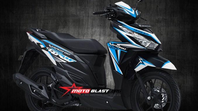 Inspirasi modifikasi Graphic kit VARIO 150 BLACK Fresh WHITE blue sporty