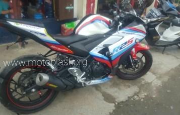 Modifikasi Yamaha R25 White Red ala Motogp Safety car! Mantap