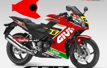 Graphic Kit Honda CBR250R dual eyes Red ala GIVI stefan Bradl Motogp