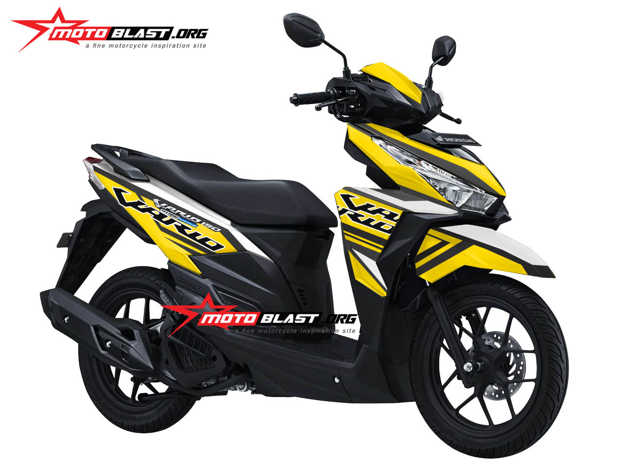Modifikasi Motor Matic Terbaru Vario 150 White Striping Yellow Sporty