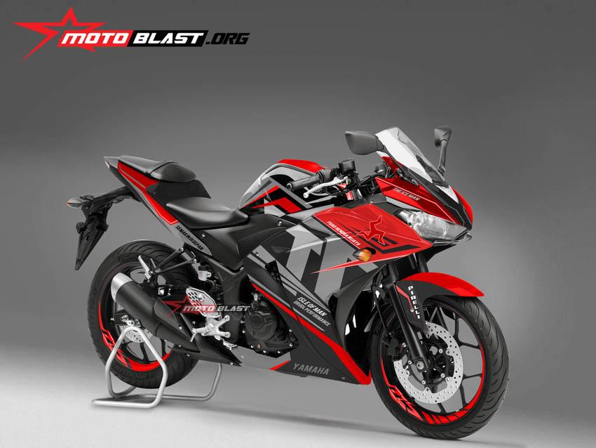 Inilah Modifikasi striping Yamaha R25 Isle Man TT - Red