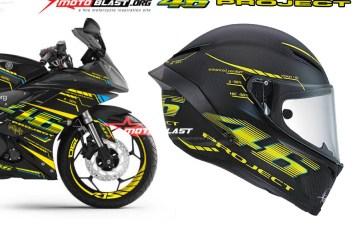Modifikasi Motorsport Yamaha R15 Black Striping VR46 Project Helmet