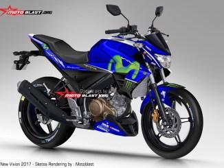 Versi pertama Render Yamaha New Vixion Facelift 2017 jika livery Movistar Motogp