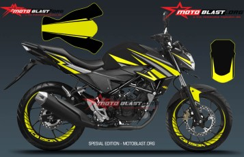 Modifikasi Striping New CB150R Black Sporty Yellow