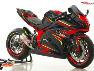 Modifikasi striping All New CBR250RE BLACK Red Green monster