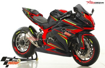 Modifikasi striping All New CBR250RE BLACK Red Green