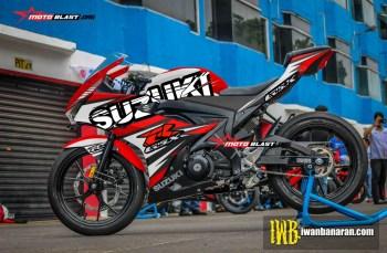 Modifikasi striping Suzuki GSX-R150 Red splash
