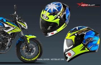 Modifikasi Striping Honda New CB150R livery helmet Aleix Espargaro Motogp 2017
