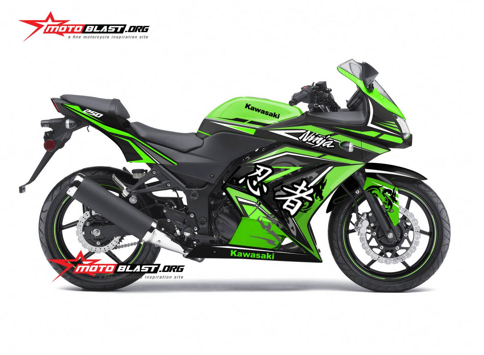 Modifikasi Striping Kawasaki Ninja 250r Karbu Green Dragon