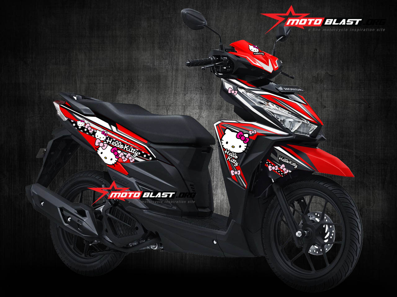 Modifikasi striping honda vario 125 150esp red hello kitty minnie mouse motoblast