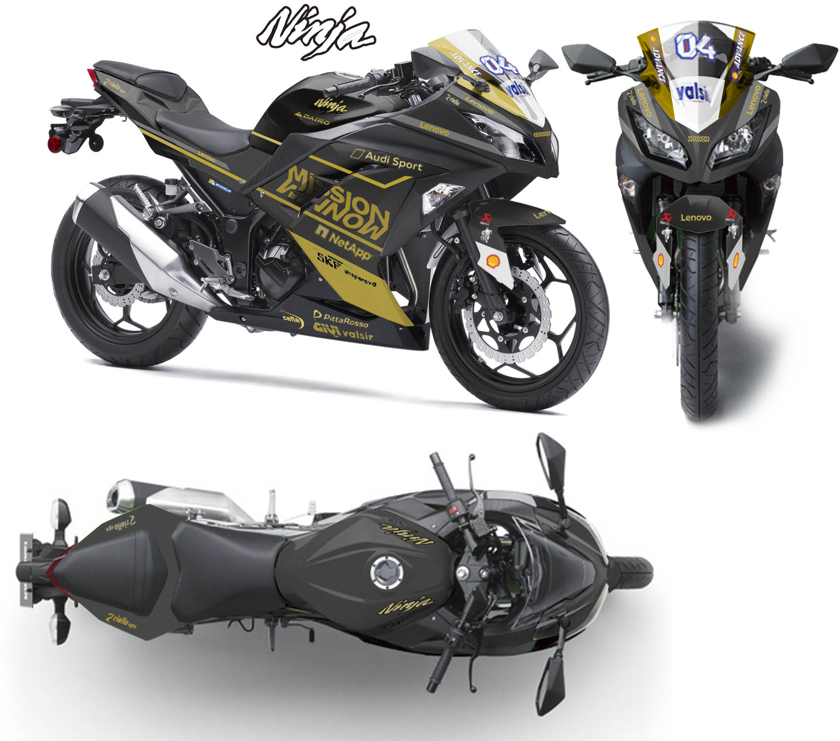 Modifikasi striping Kawasaki Ninja 250R Fi Mission Winnow Black gold
