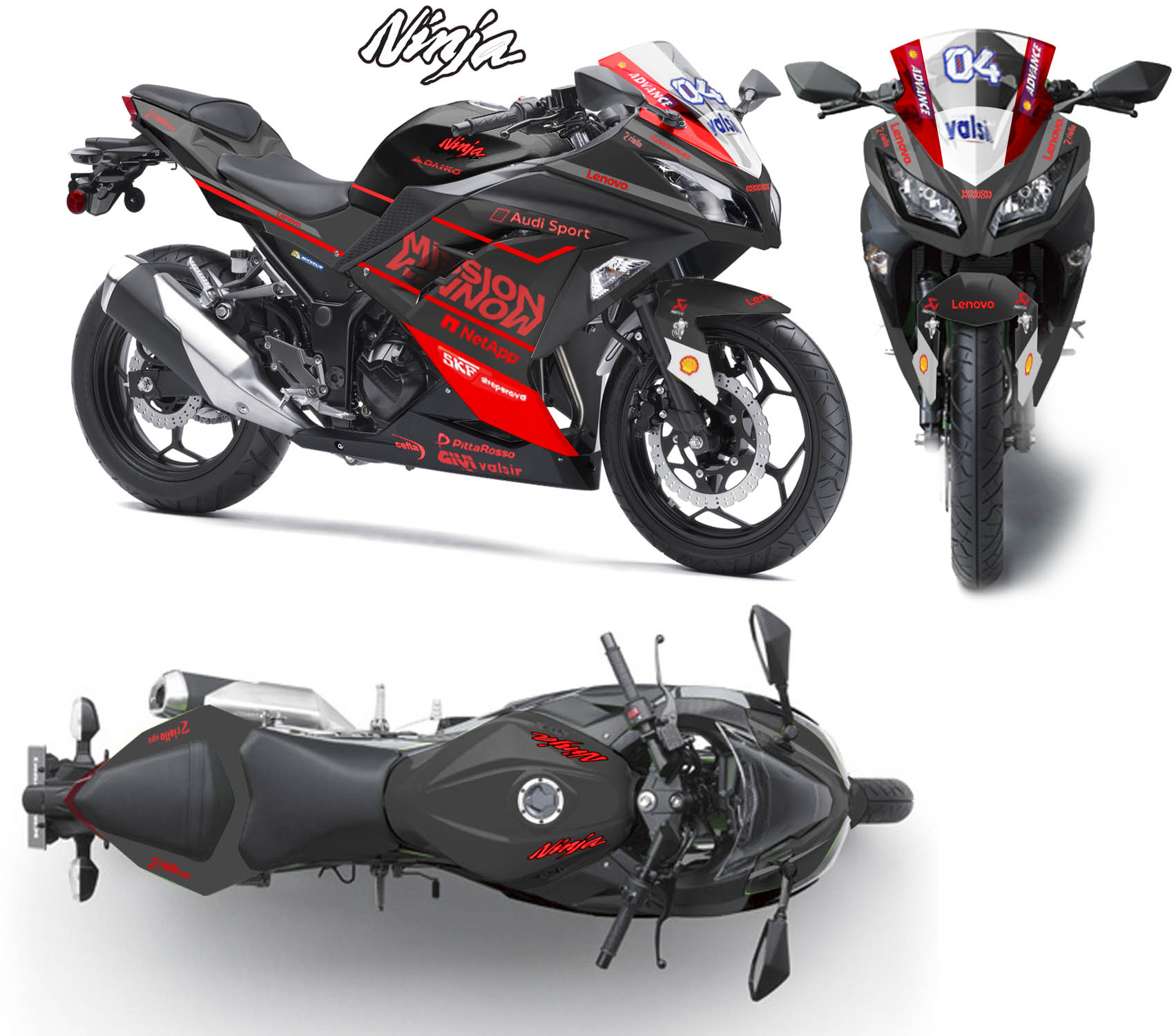 Modifikasi striping Kawasaki Ninja 250R Fi Mission Winnow Black red