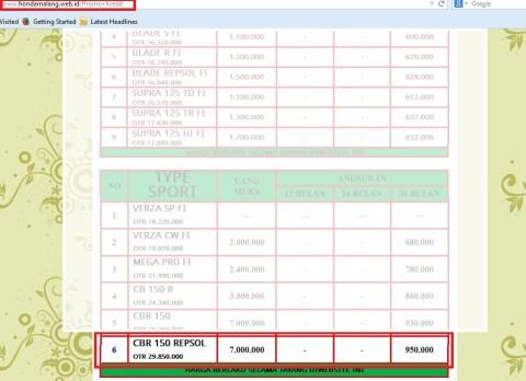 harga motor honda 01112014