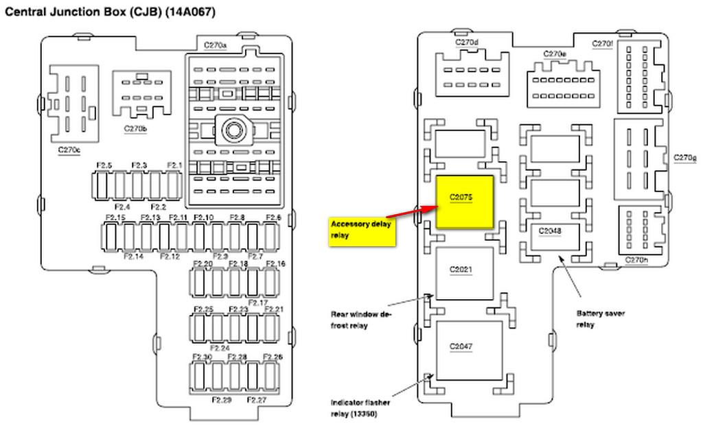 Location F C Super 250 Ford Duty Xl Fuse Relay 2005